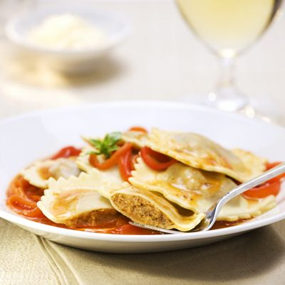 Spicy Beef & Sausage Ravioli with Marinara and Roasted Peppers | Meals.com -  Spicy and colorful! This convenient and easy to make ravioli is perfect for a quick meal. Marinara and roasted pepper flavors make this a winner!