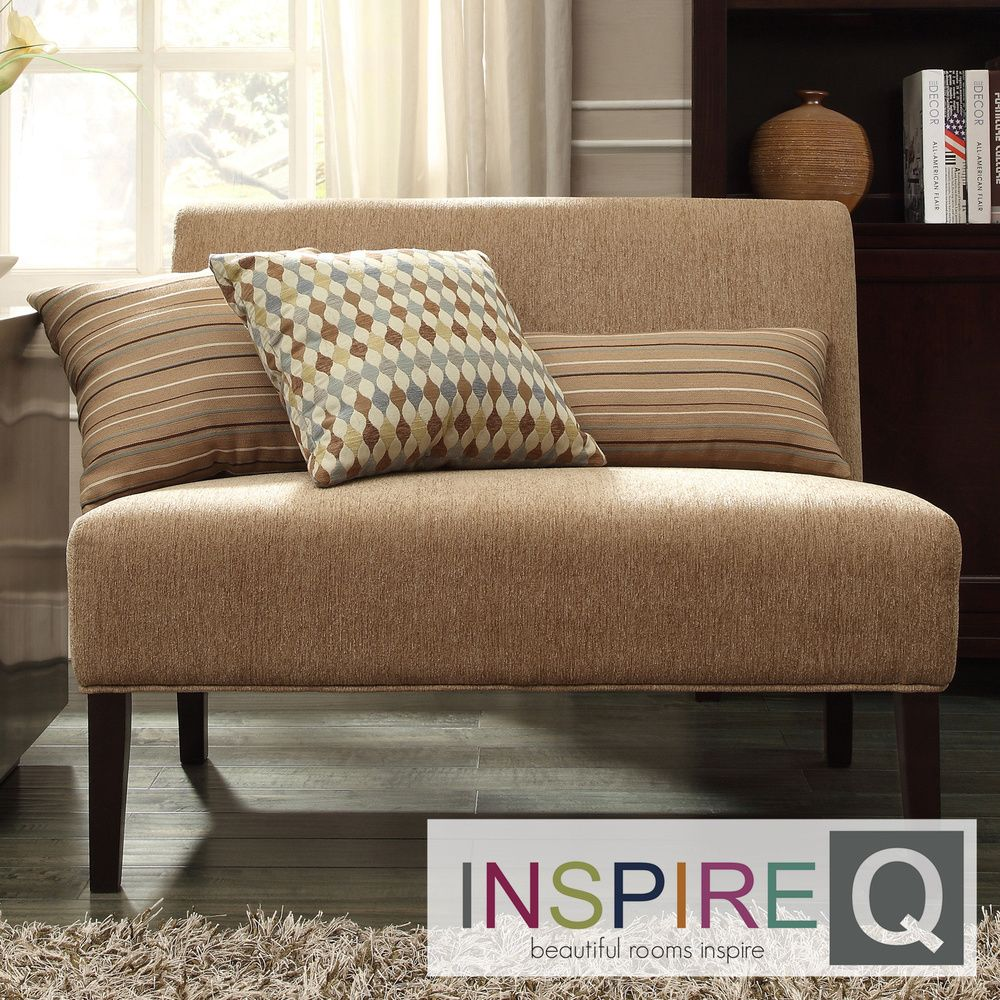 INSPIRE Q Wicker Park Tan Chenille Armless Loveseat by iNSPIRE Q