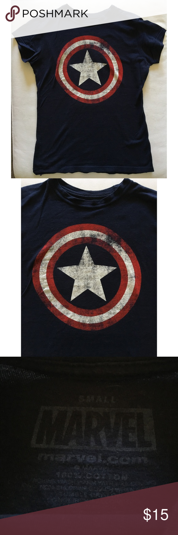 2bde3d8cd MARVEL CAPTAIN AMERICA LADIES TEE NAVY W/LOGO By Marvel, official  merchandise, this