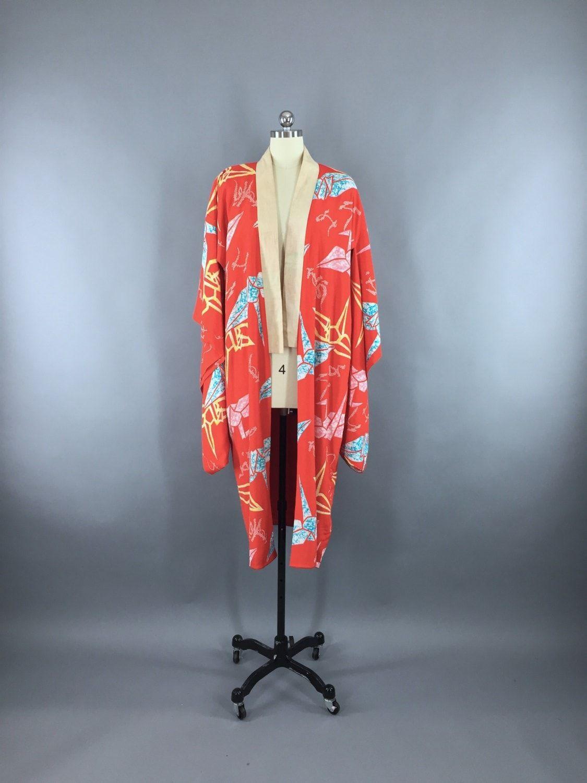 Vintage 1920s Silk Kimono Robe with Origami Crane Birds Novelty Print ca70b8bb4