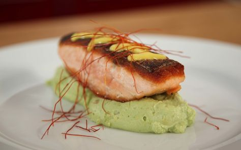 Photo of Salmon on avocado cream