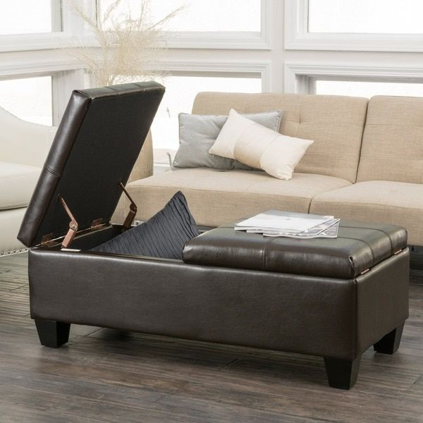 Merrill Double Opening Chocolate Brown Leather Storage Ottoman by