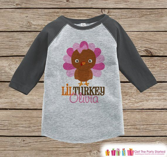 Baby Girl Thanksgiving Outfit - Lil Turkey Shirt - Baby Girl Thanksgiving Shirt - Grey Raglan Tshirt #thanksgivingoutfit