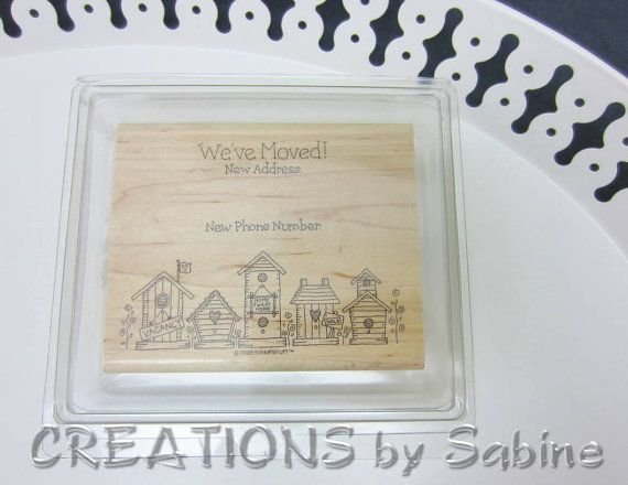 Weve Moved Stamp Large Stampin Up Wooden Block Rubber 45x375 Moving Card New Home House Address Phone Number Houses By CREATIONSbySabine