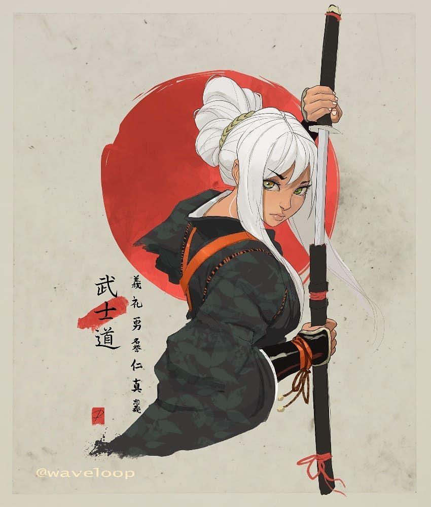 2nd 7 Bushido Virtues Bushido Katana Samurai Warrior Path Animegirls Whitehair Art Collective Artnerd I Samurai Artwork Samurai Art Warrior Drawing
