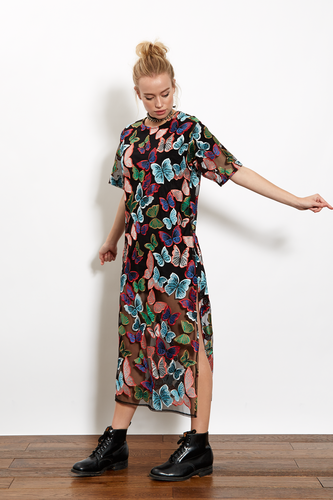 daa106ef861 Sheer navy chiffon maxi t-shirt dress with all over multicolour butterfly  embroidery. Featuring button fastening at back neck and side slits.