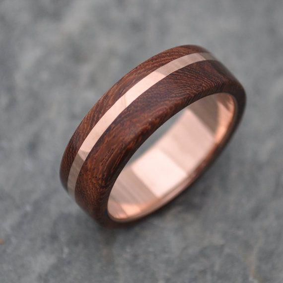 Rose Gold Wood Ring Solsticio Oro Nacascolo All By Naturalezanica Rose Gold Wood Ring Pink Gold Wedding Rings Wood Wedding Ring