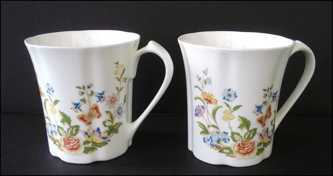 Of Bone Two Coffee Aynsley Mugs Garden Cottage Fine English Set lKFJc1