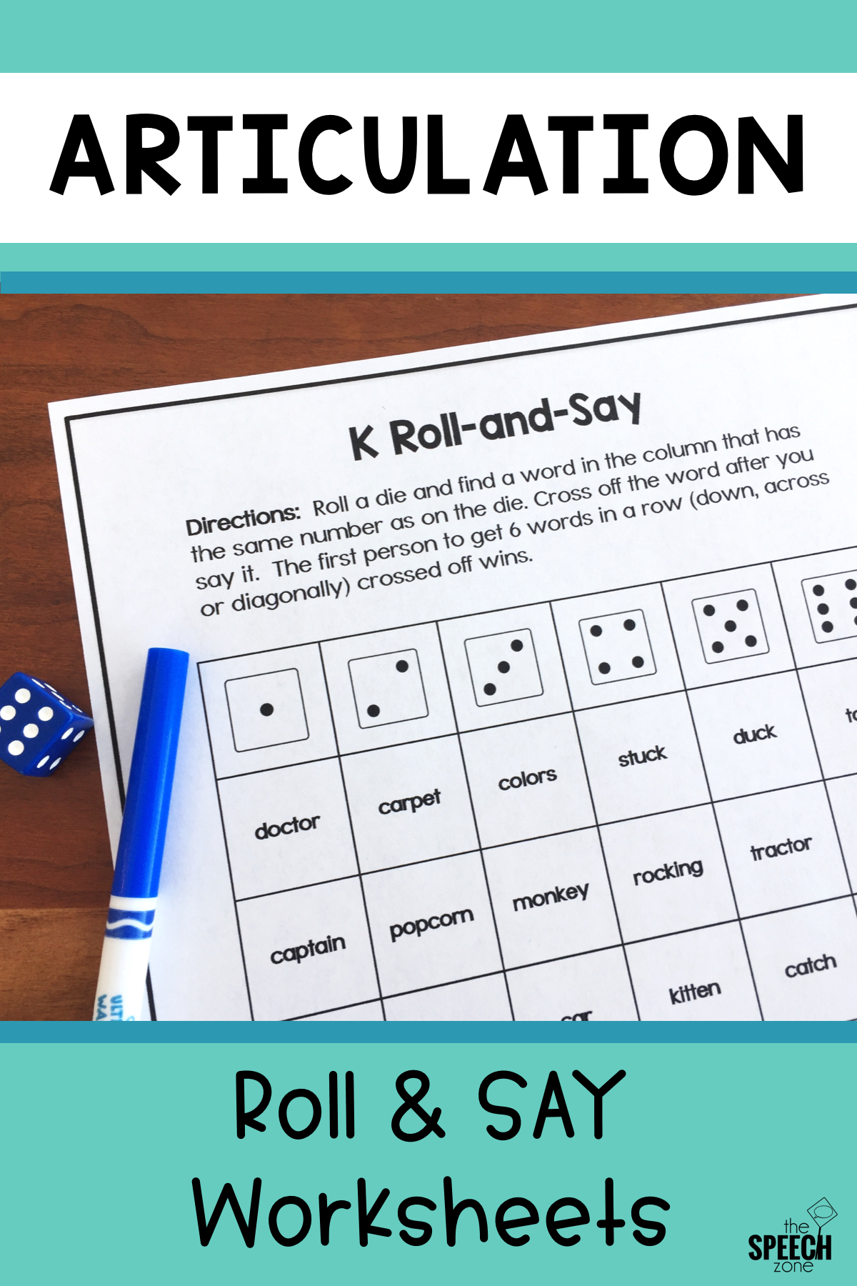 Articulation Dice Worksheets