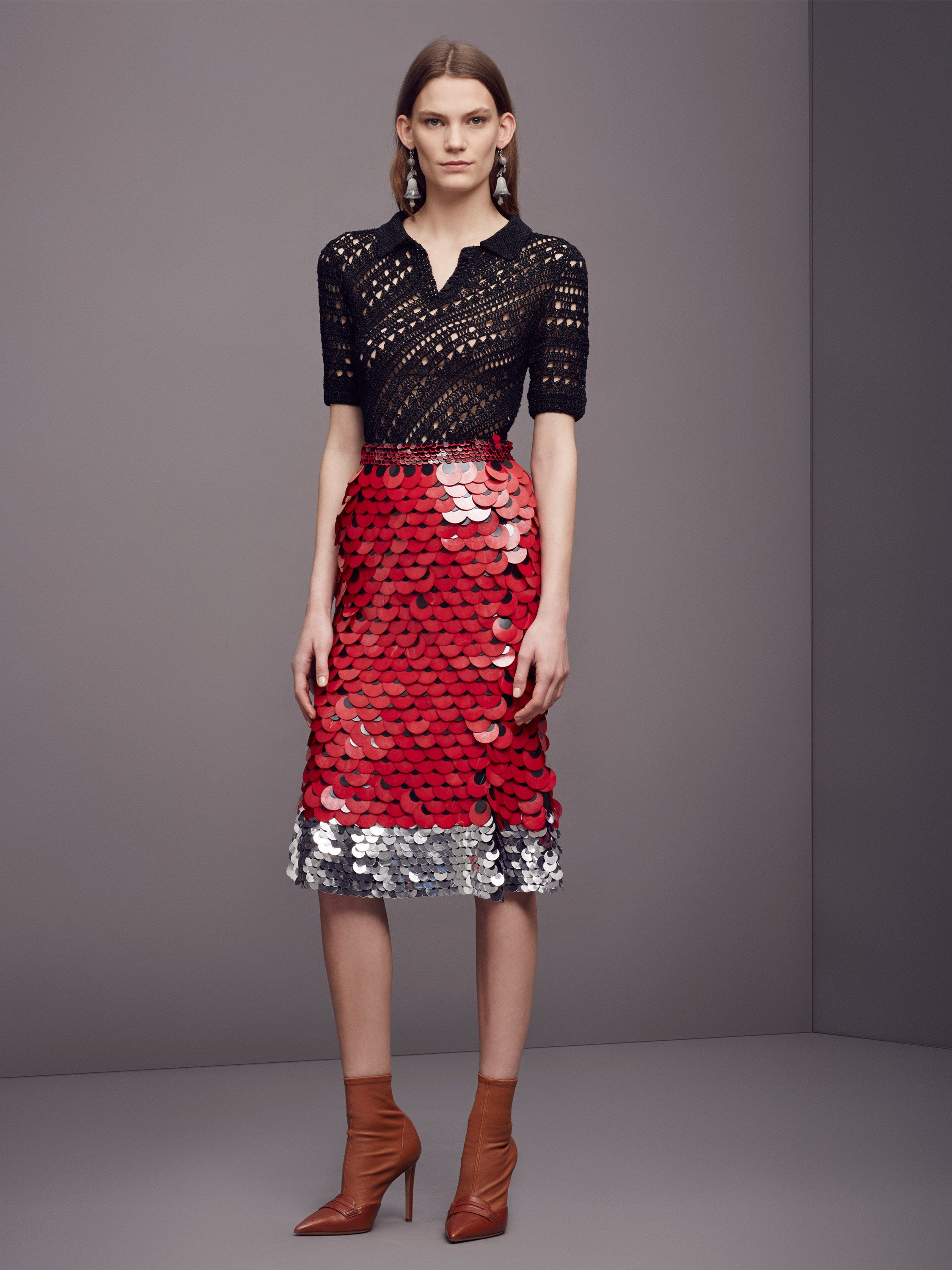 Black Short Sleeve Top Paired with a Red and Silver / Altuzarra Pre-Fall 2016 Collection Photos - Vogue