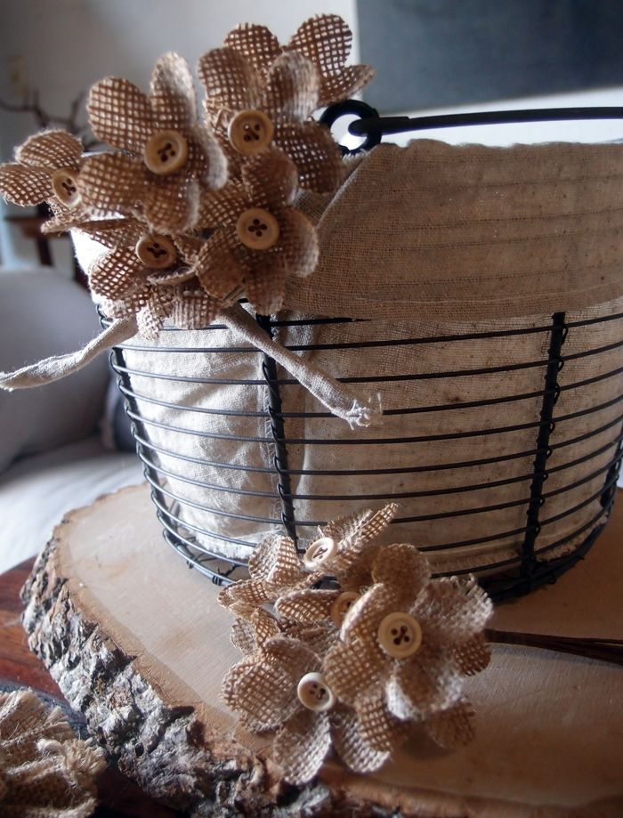 Such a great shot of decorative burlap flowers. Perfect for weddings and special occasions. Love the button! #burlap #burlapflowers #weddingdecor #burlapwedding