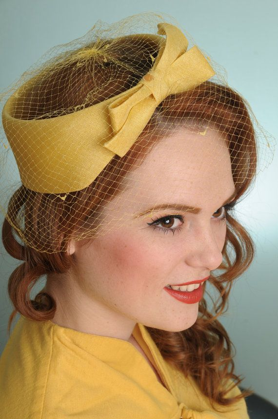 30b02038afa Yellow vintage hat with netting. LOVE this!