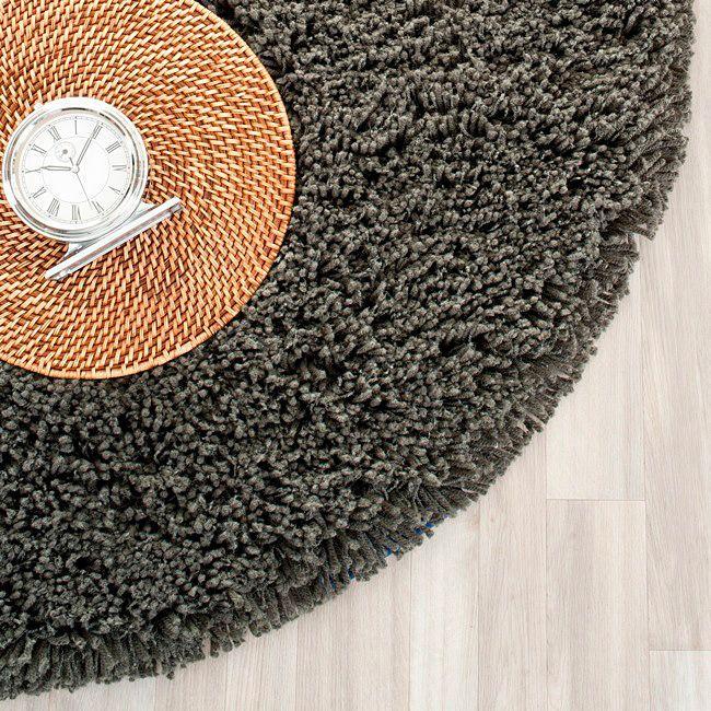 Safavieh Classic Plush Handmade Super Dense Charcoal Shag Rug (4' Round), Grey, Size 4' x 4' (Acrylic, Solid)