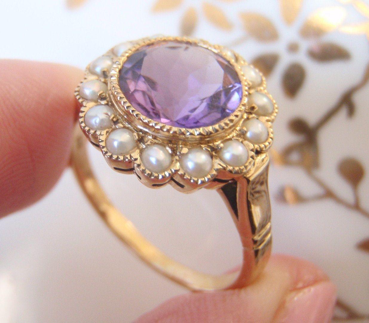 Prsten Ametyst Vsazeny Do Zlata A Zdobeny Perlami Prsteny