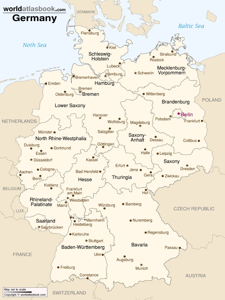 Map Of Germany With States Cities World Atlas Book Germany Map Germany Medieval Germany