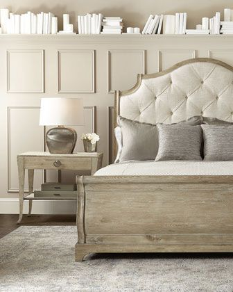Bernhardt Rustic Patina Button Tufted Sleigh Bed - King and Matching Items