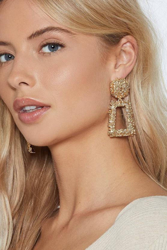 New Gold Pearl Hoop Dangle Drop Earrings Celeb Style Statement