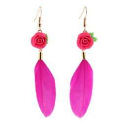 $3.92 Pair of Ethic Rose Embellished Feather Pendant Earrings For Women