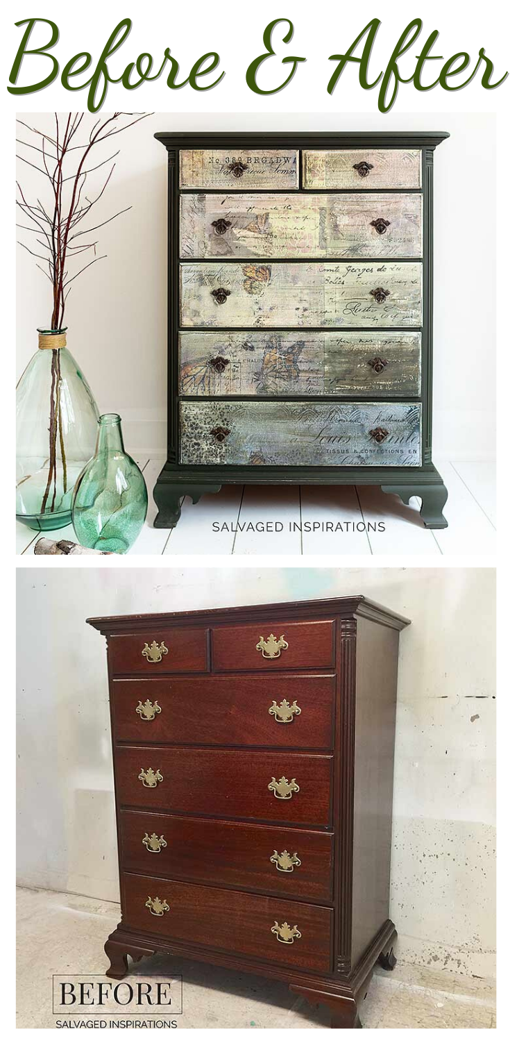 Before and After | Butterfly Collage Dresser Makeover | Salvaged Inspirations  #siblog #salvagedinspirations #paintedfurniture #furniturepainting #DIYfurniture #furniturepaintingtutorials #howto #furnitureartist #furnitureflip #salvagedfurniture #furnituremakeover #beforeandafterfurnuture #paintedfurnituredieas #paintedfurniture