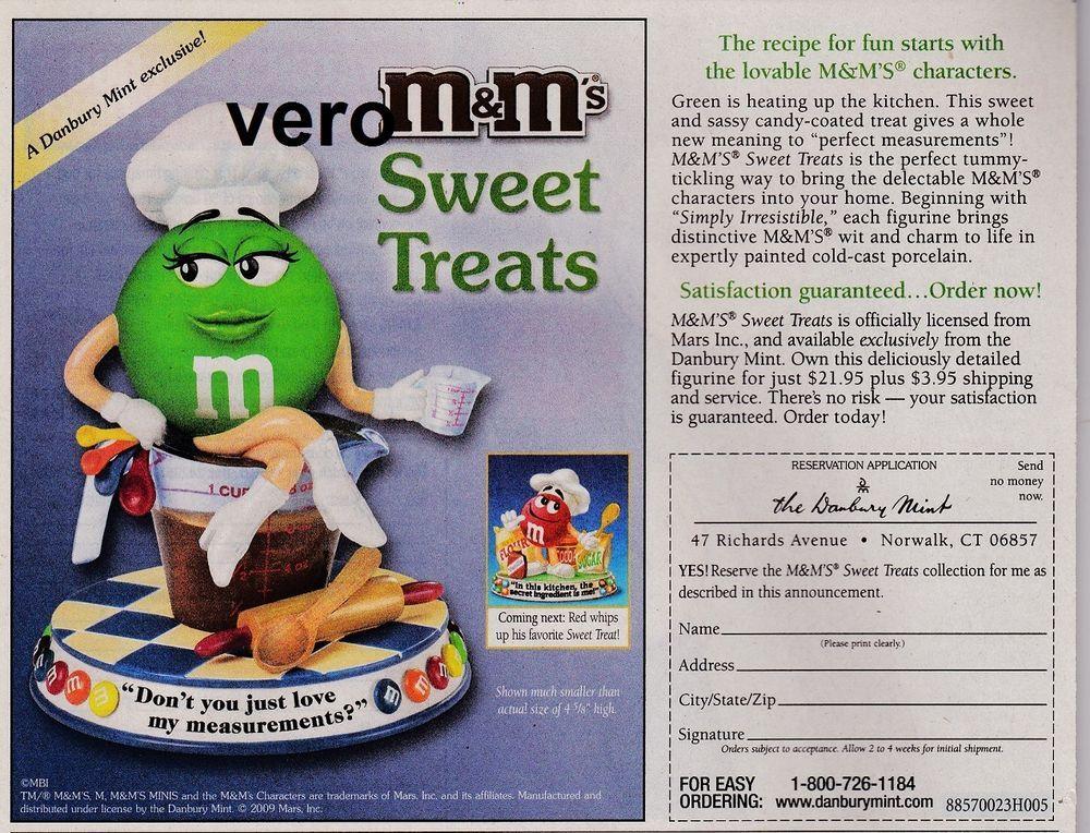 2009 magazine ad M&M's SWEET TREATS mms M&M Danbury Mint advertisement print