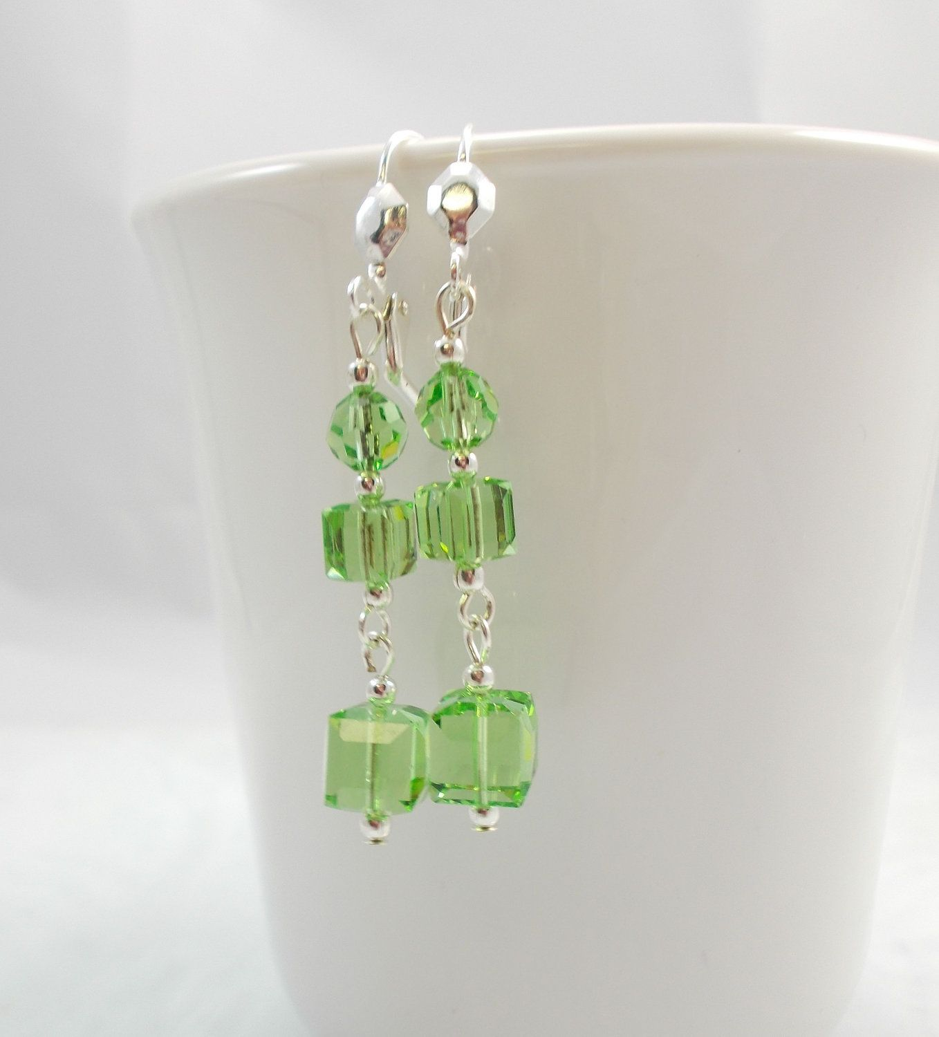 Green Swarovski Crystal Earrings Cube Peridot by kmajewelrydesigns, $22.00