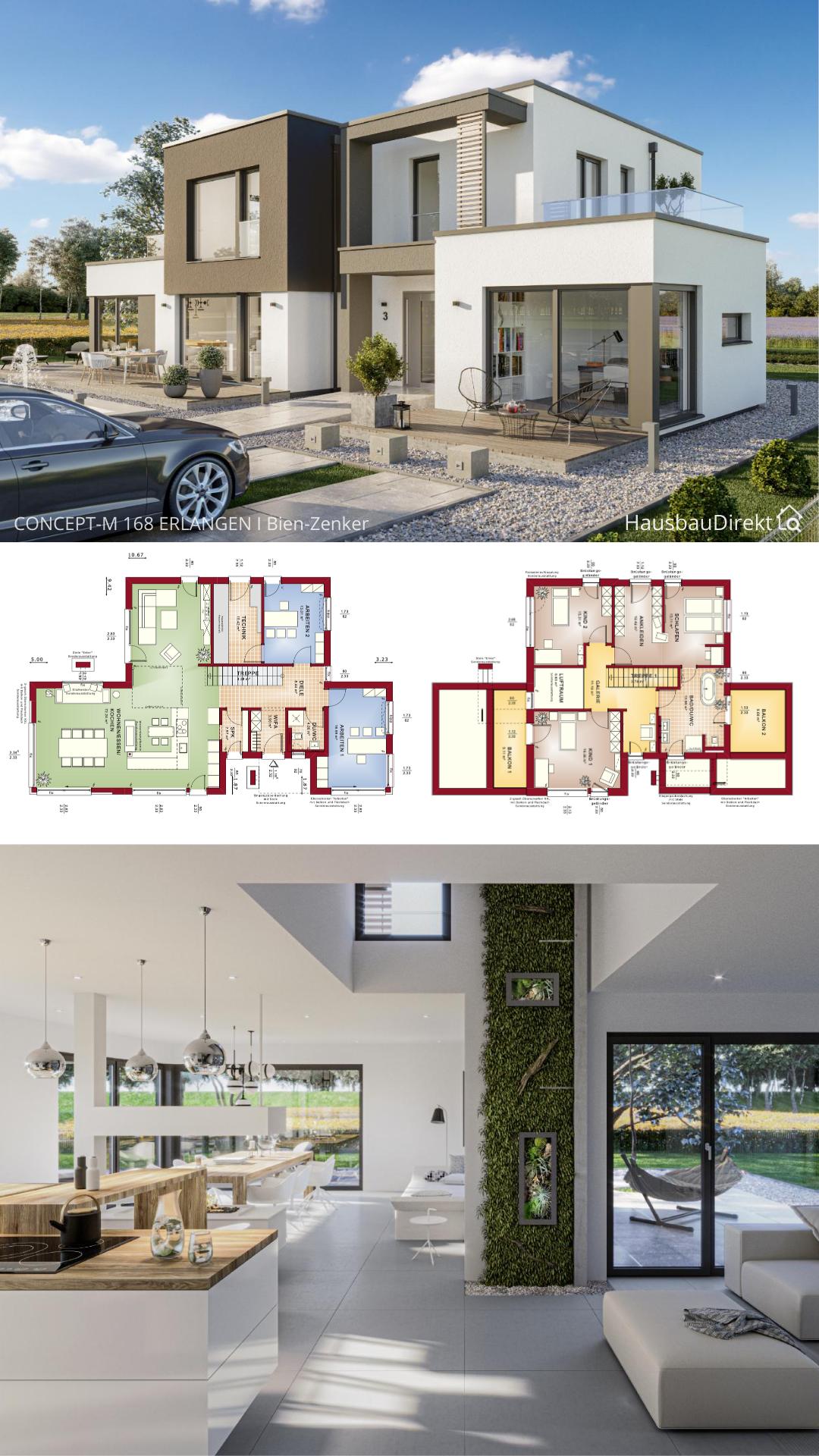 Modernes Haus Design Mit Flachdach Im Bauhausstil Bauen Einfamilienhaus Grundriss Offen Mit Galerie In 2020 Haus Design Haus Modernes Haus