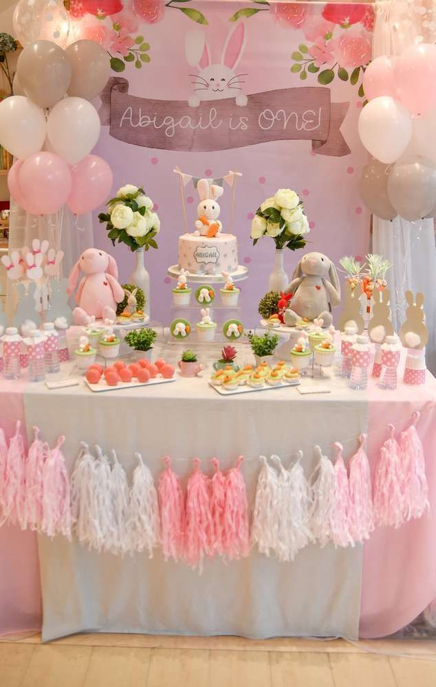Loving This Gorgeous Oh My Bunny 1st Birthday Party The Dessert Table Is A Dream Partyideas Easter Birthday Party Bunny Birthday Party Bunny Birthday Theme