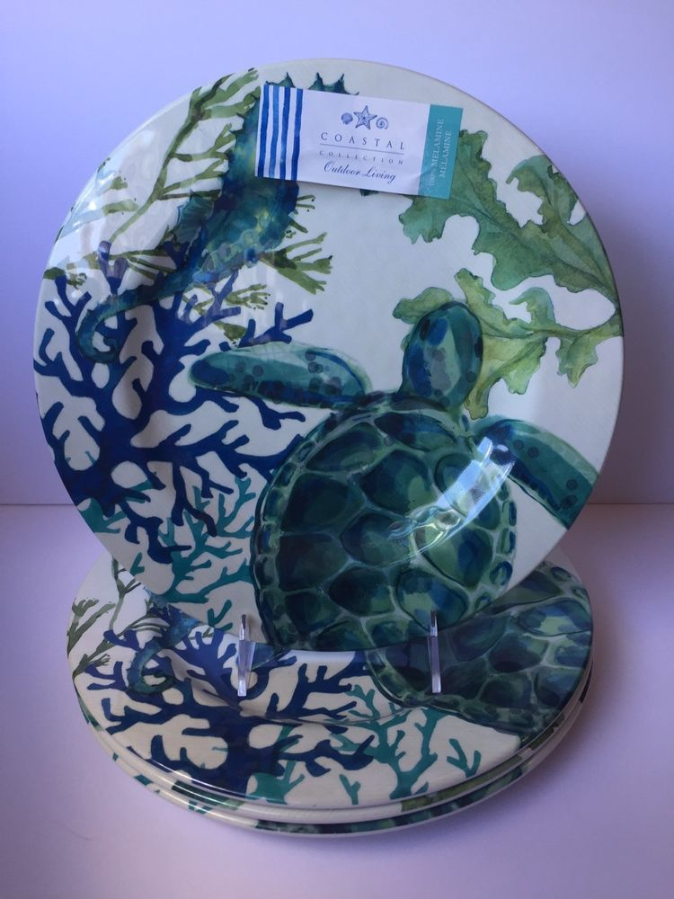 Sea Turtle or Starfish Melamine Plates Set of 4 Salad Dessert Coastal Living Home Cookware, Dining & Bar Supplies