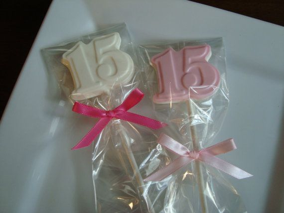 12 Chocolate Number 15 Lollipops Fifteen Quinceanera Birthday Party Favors Dessert Table Candy