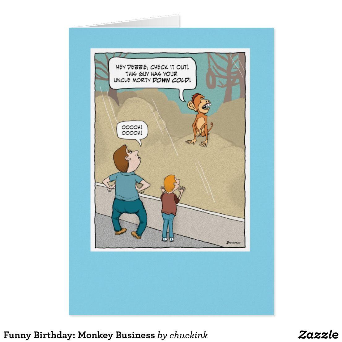 Funny Birthday: Monkey Business Card | Monkey business, Funny ...