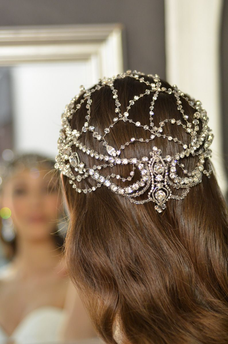 Br bridal headpieces montreal - Wide Silver Art Deco Headband Crystal Headpiece Beaded Headband Rhinestone Crystal Head Piece Bridal Hair Accessories Style 133 Headpieces