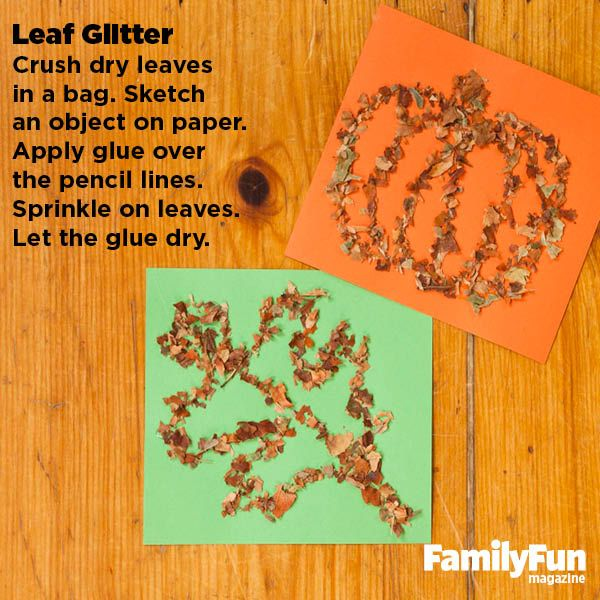 Leaf Glitter: These dimensional drawings are made using leaves from your yard, lending them the subtle colors of late autumn.