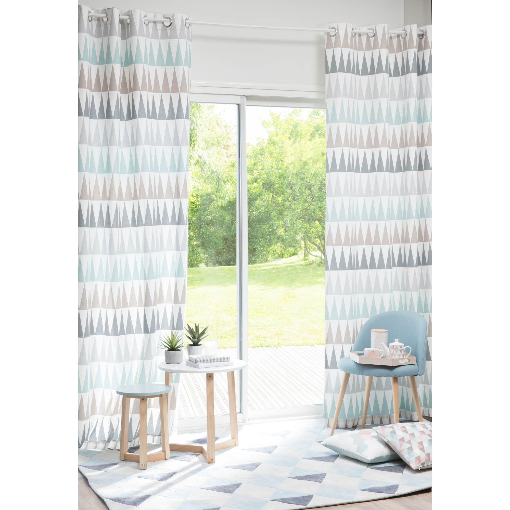 Rideau à œillets en coton bleu 110 x 250 cm trendy