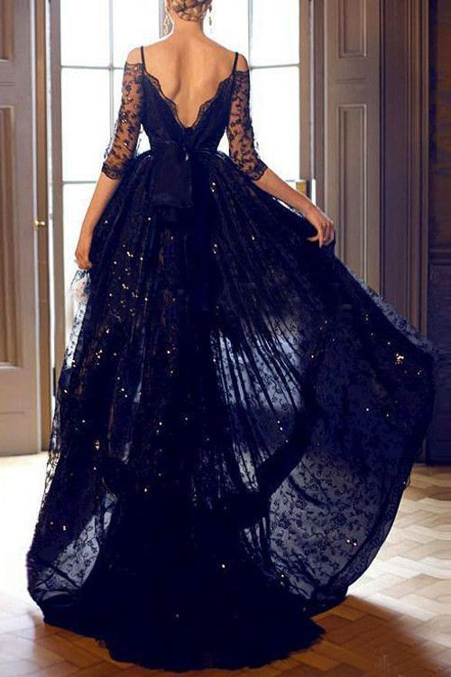 High-low Half Sleeves Lace Prom Dresses Evening Gowns With Straps PG305