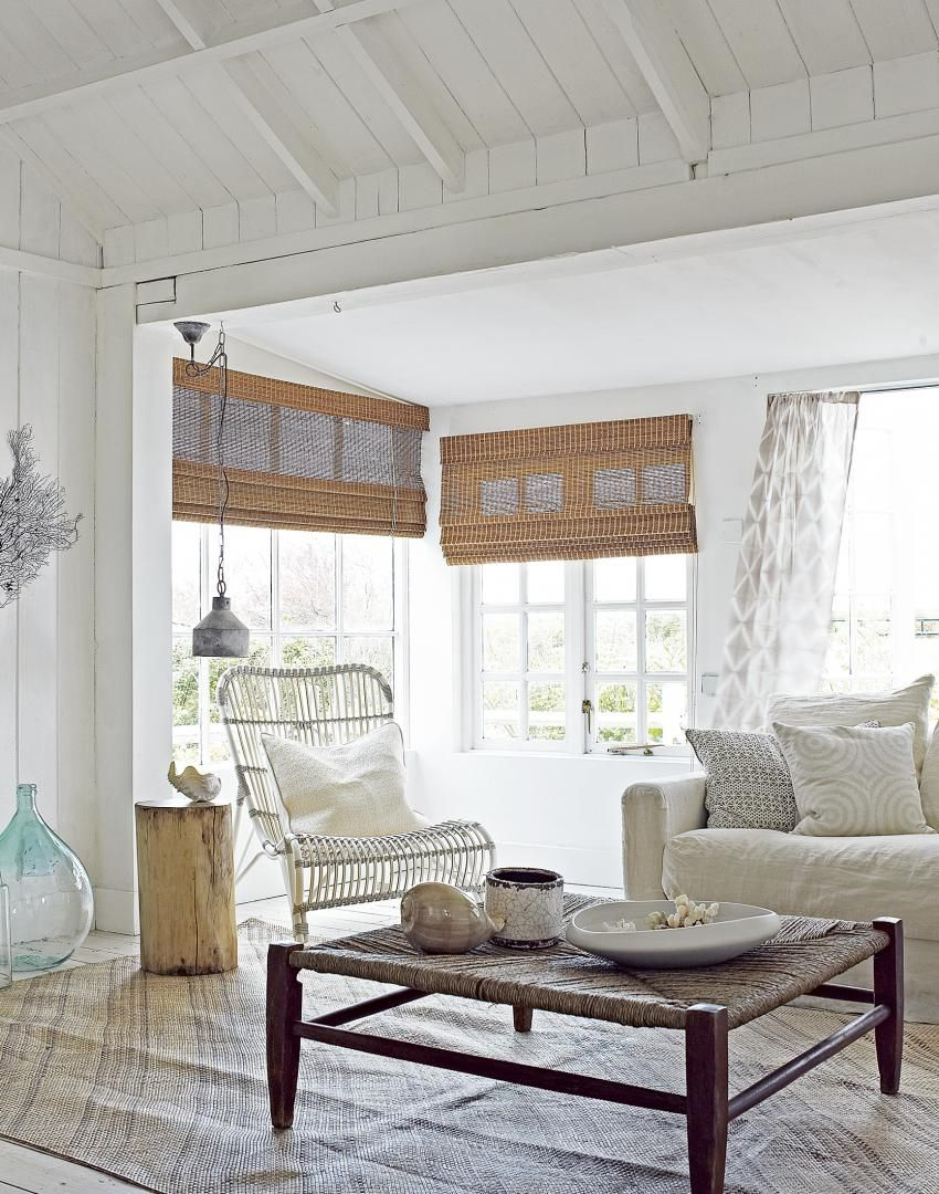 Neutral Coastal Living Room with Bamboo Blinds and Natural Touches ...
