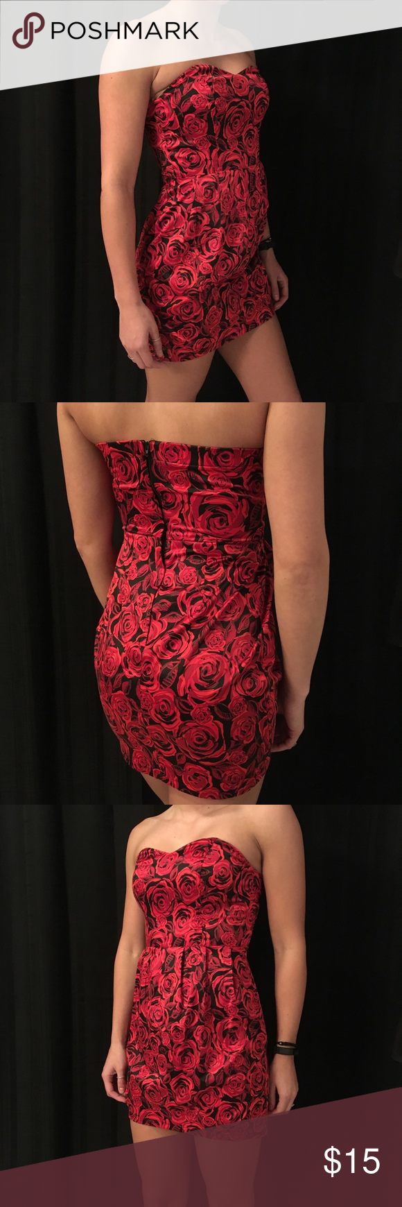 🌹 Strapless Rose Dress Charlotte Russe Red Rose Strapless Dress. Size: S. Condition: Excellent. Charlotte Russe Dresses Strapless