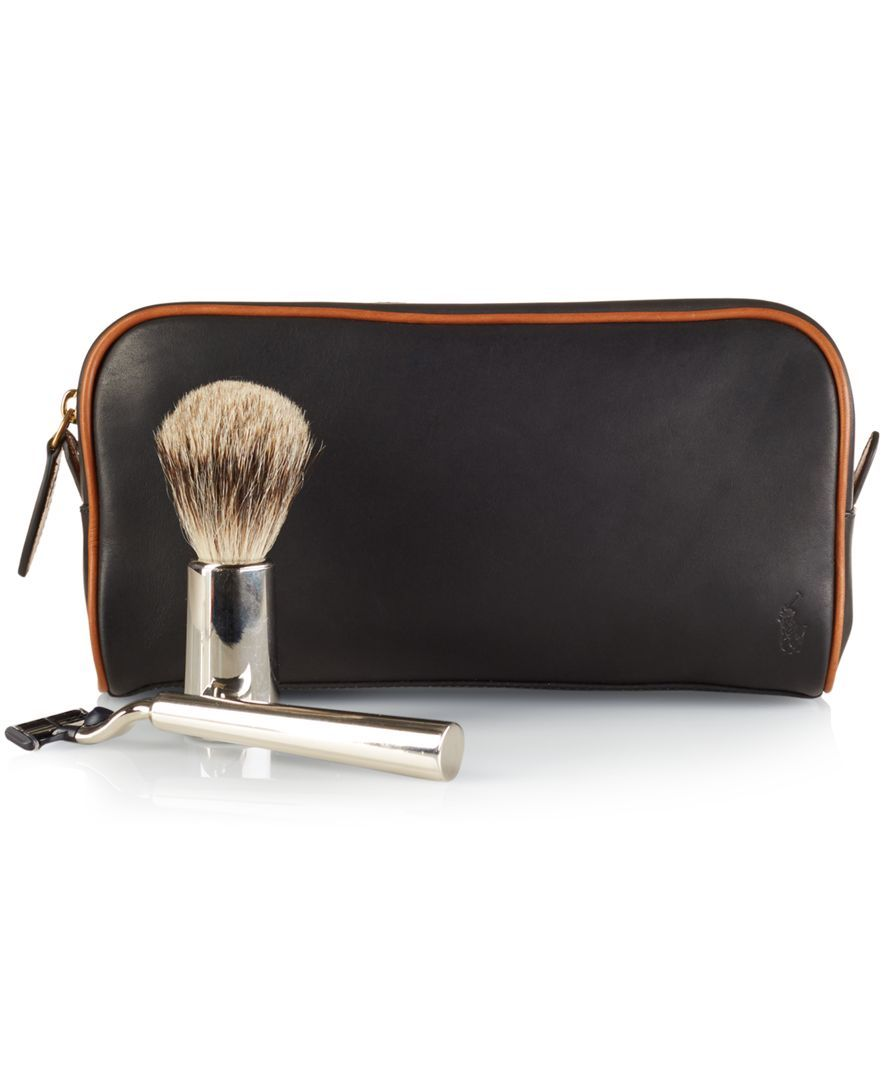 4e6521416681 Polo Ralph Lauren Two-Toned Leather Shaving Bag