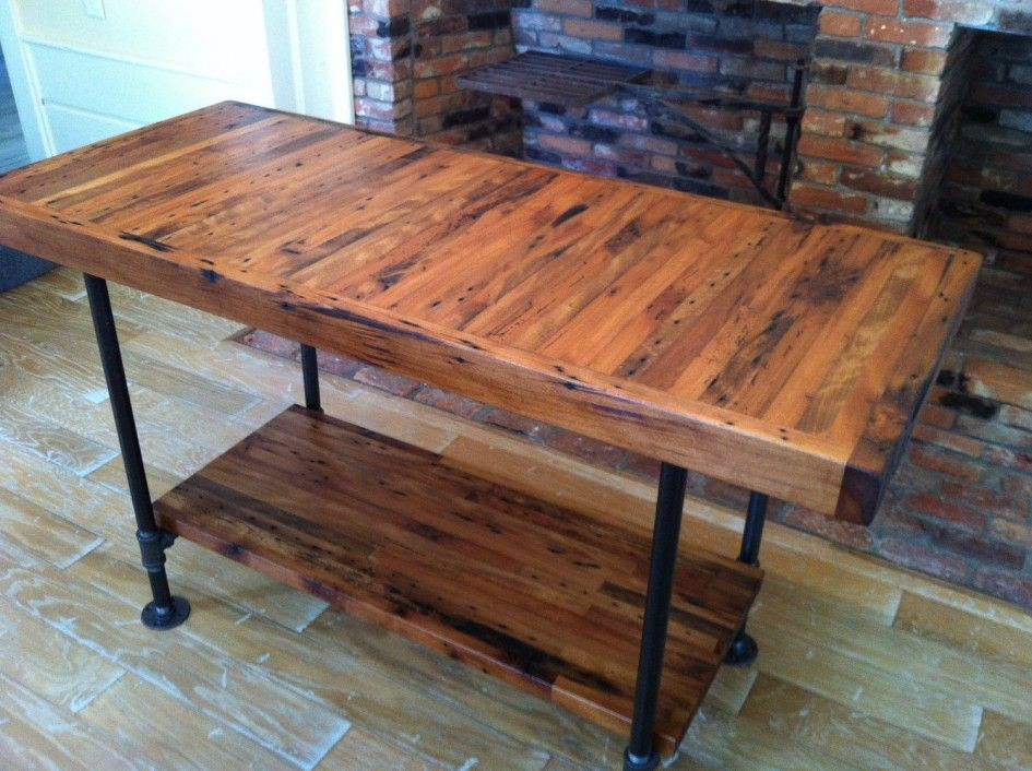 Ideas Majestic Butcher Block Kitchen Island Designs Using Distressed Wood Countertops And Black Cast Iron Table