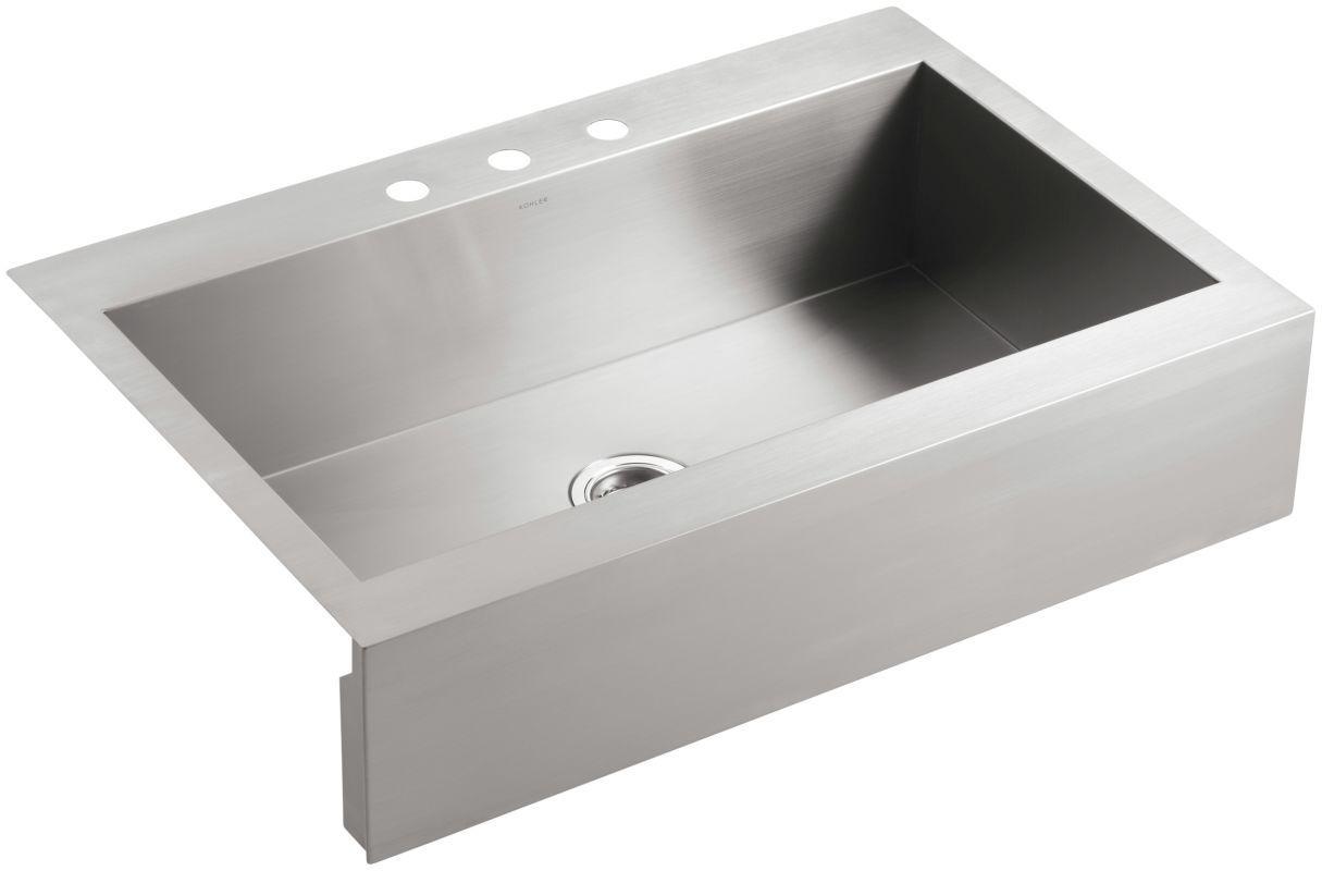 Kohler K 3942 3 Apron Front Kitchen Sink Stainless Steel