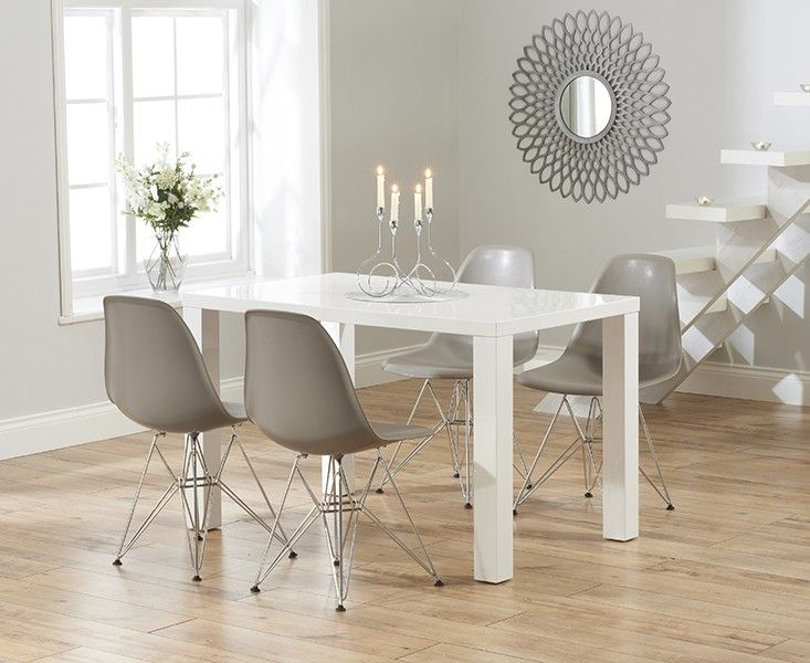 Buy The Atlanta 120cm White High Gloss Dining Table With Charles Eames Style DSR Eiffel Chairs