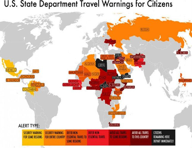 The us department of state regularly issues travel warnings for 2014 us passport and intl travel advisory warning country map travel publicscrutiny Choice Image