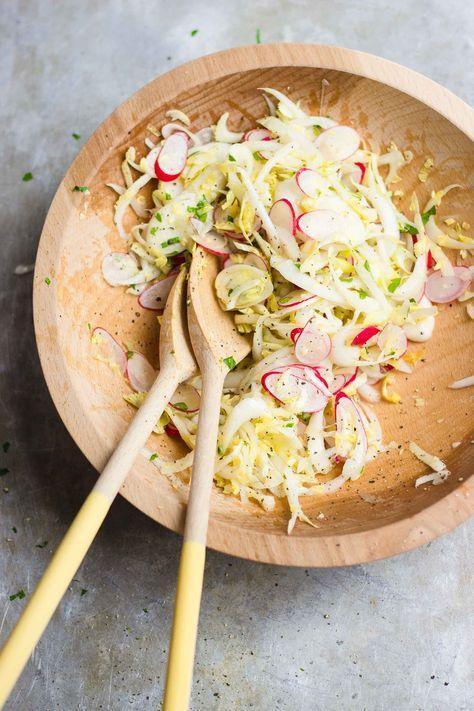 endive radish salad ricotta toast comida ensaladas frescas alimentos pinterest