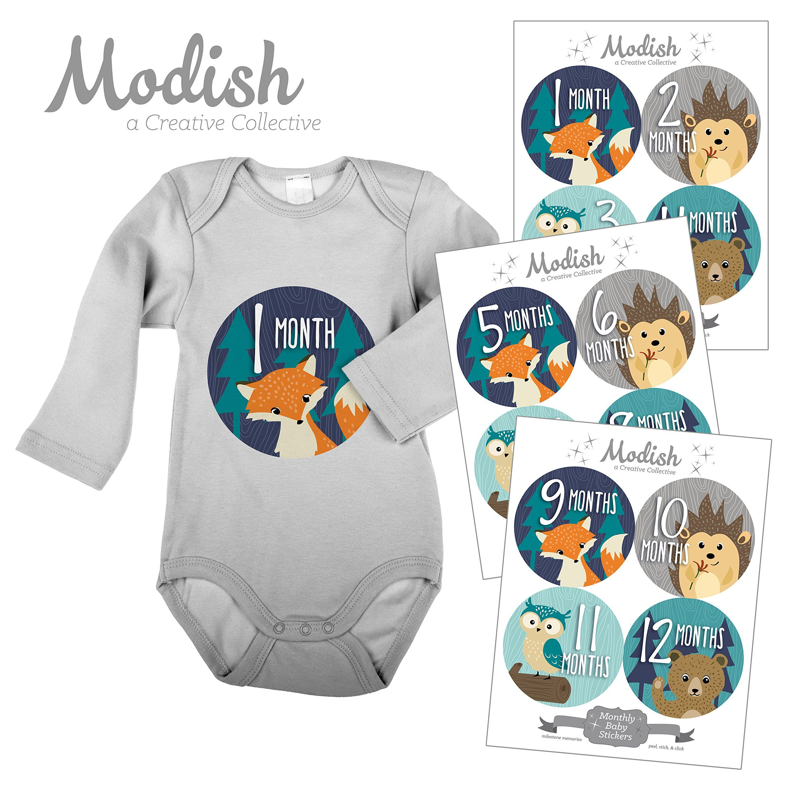 12 Monthly Baby Stickers Woodland Baby Month Stickers Fox Bear
