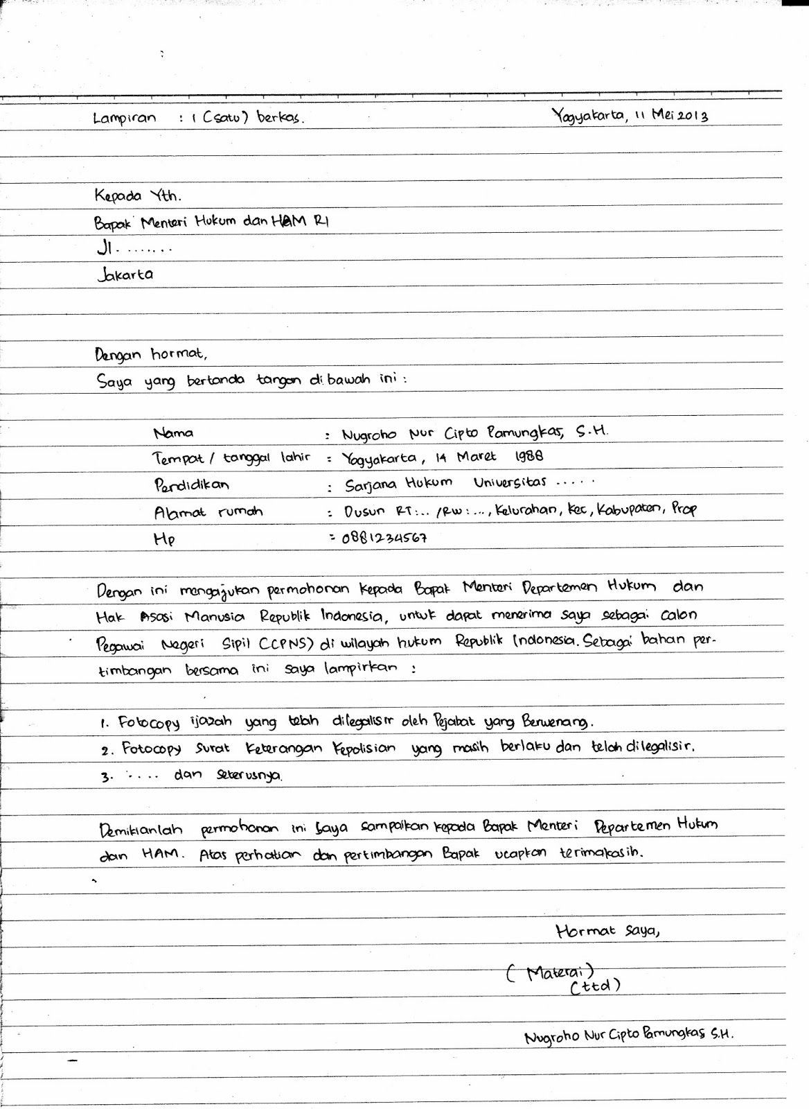 Surat Lamaran Kerja Harus Tulis Tangan Tulisan