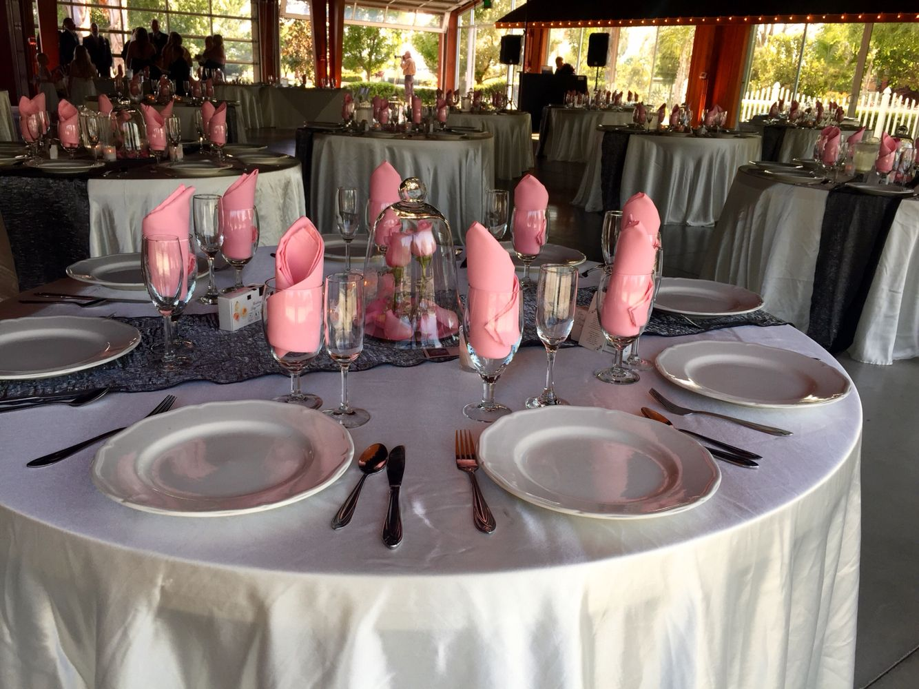 Ivory Table Cloth Grey Runner Pink Napkin Pink Napkins Grey Runner Table Cloth
