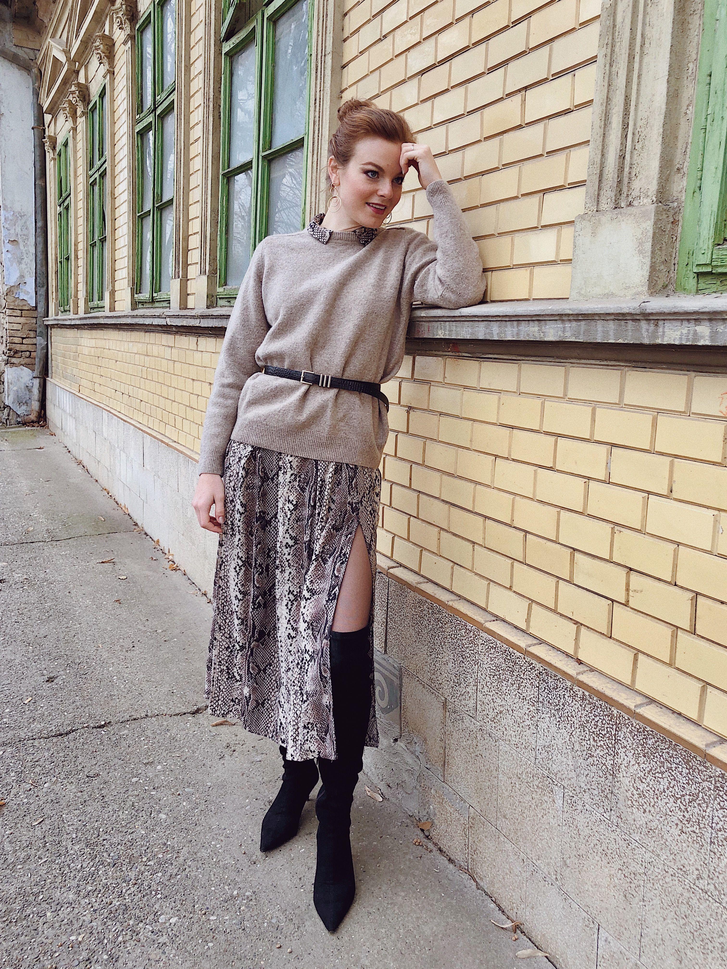 Layered Snakeskin Midi Dress Midi Dress Layering Thrift Fashion Chic Outfits [ 4032 x 3024 Pixel ]