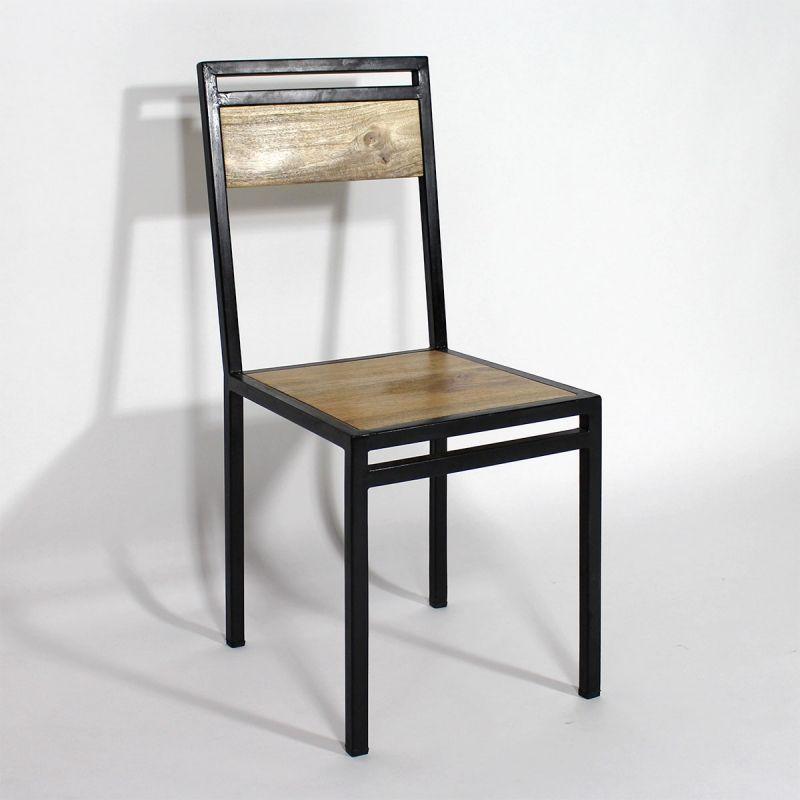 Chaise Industrielle Métal Et Bois De Manguier | Steel Furniture