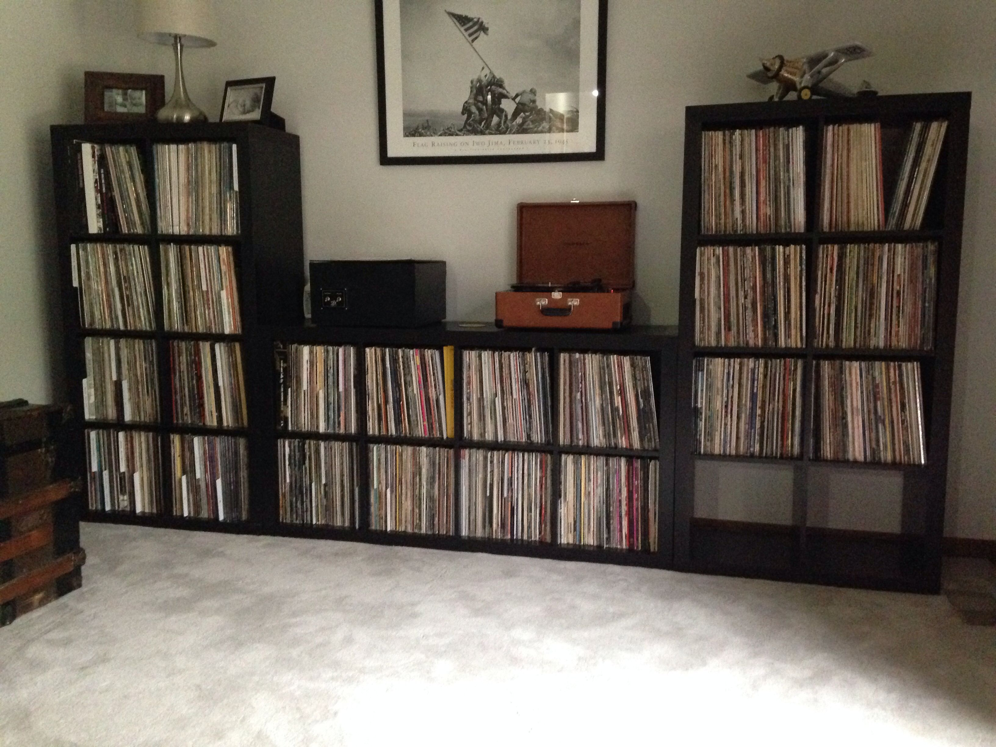 Easy record storage idea two 8 cube kallax shelf units for Ikea lp storage