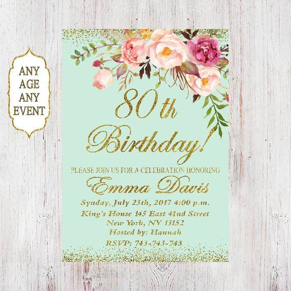80th Birthday Invitation Women Floral Mint 50th 6