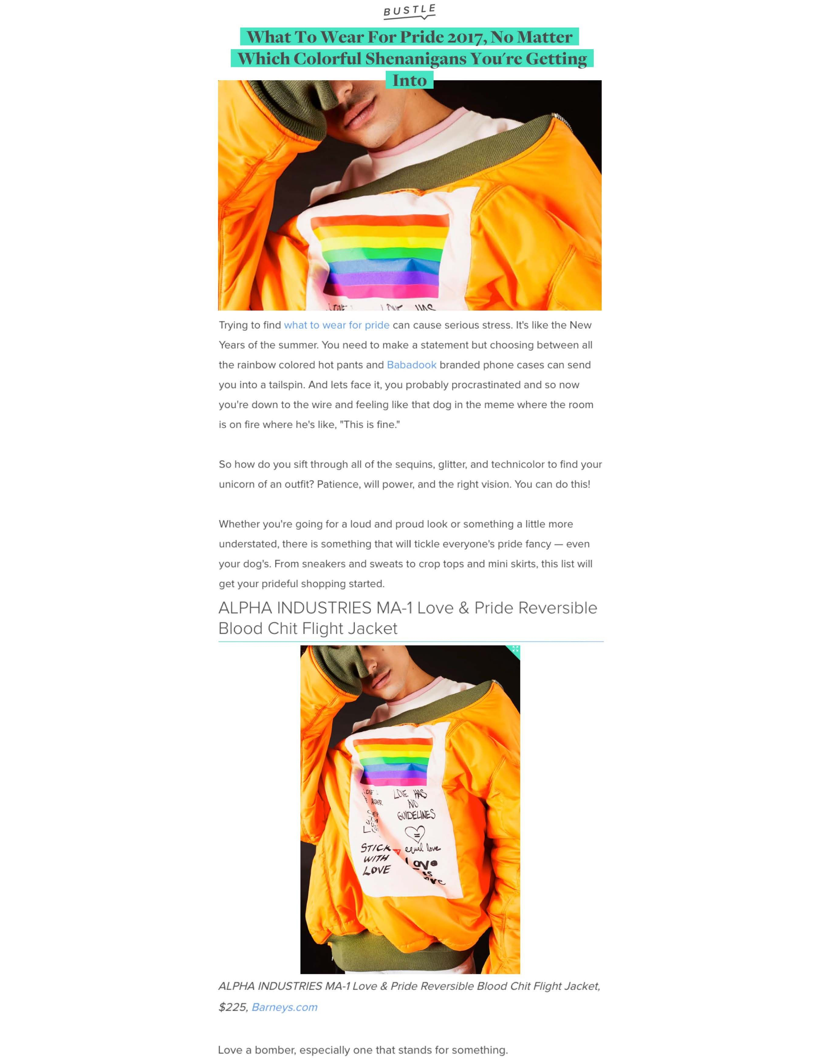 """5544e7dcf0960 Bustle in roundup titled, """"What To Wear For Pride 2017, No Matter Which  Colorful Shenanigans You're Getting Into."""" The roundup suggests items to  wear for ..."""